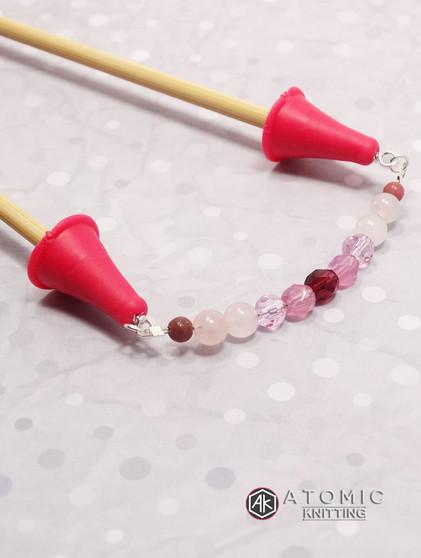 Rose quartz & Czech Glass Beaded Point Protector Caps for Knitting Needles 4 - 6.5mm