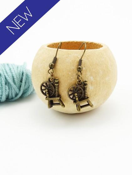 Bronze Spinning Wheel Earrings
