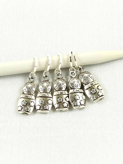 Russian Doll Stitch Marker Set of 5 - Metal