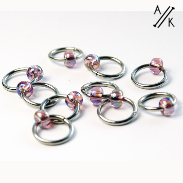 Amethyst Jewel Stitch Markers 6mm | Atomic Knitting