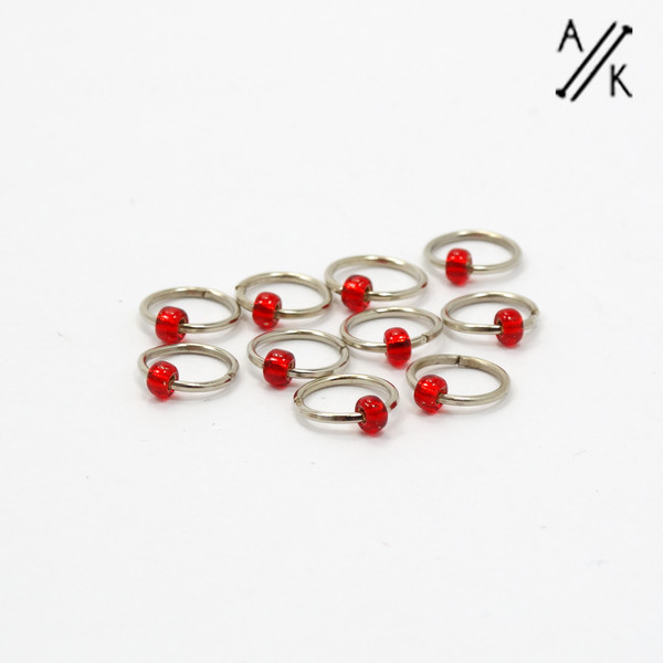 Really Red 5mm Jewel Stitch Markers