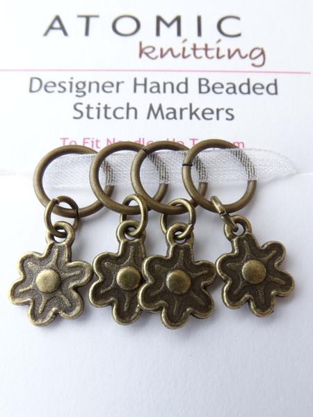 Bronze Flowers Stitch Markers
