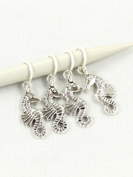 Seahorse Stitch Markers - Antique silver colour