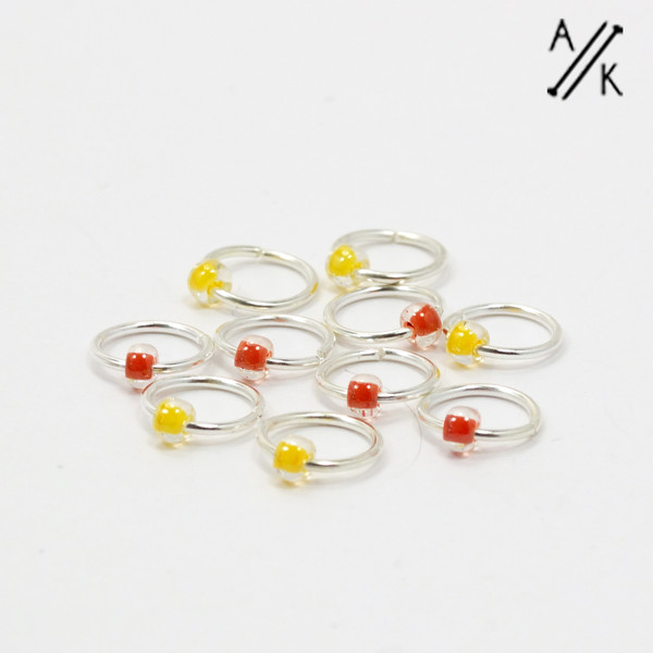 5mm Jewel Lemon mix knitting stitch markers