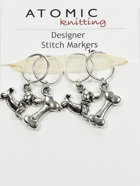 Dog and Bone Stitch Markers