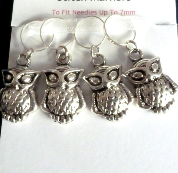 A Parliament of Antique Silver Owls - Stitch markers
