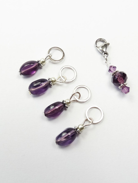 Purple twist drop Knitting Stitch Markers with keeper - set of 4
