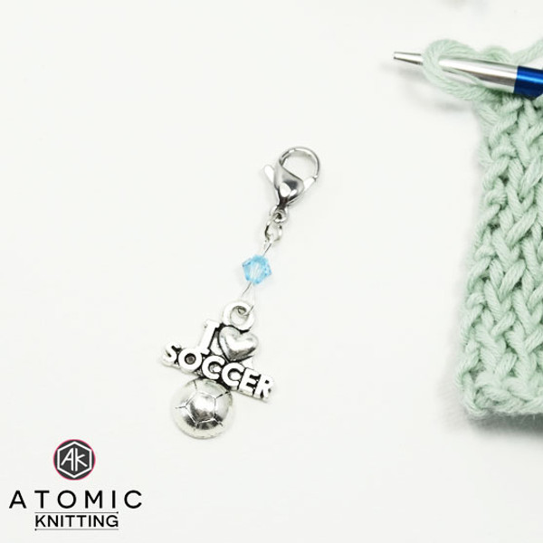 I Love Soccer Swarovski Knitting Progress Stitch Marker x 1
