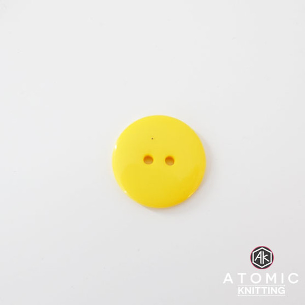 Round Acrylic Button 2 holes -Yellow - 22mm