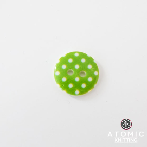 Spotty Round Acrylic Button 2 holes - Green - 15mm