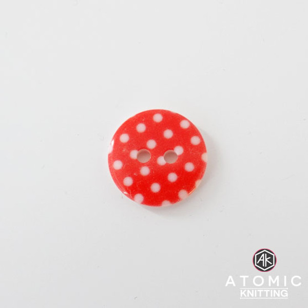Spotty Round Acrylic Button 2 holes - Red - 15mm