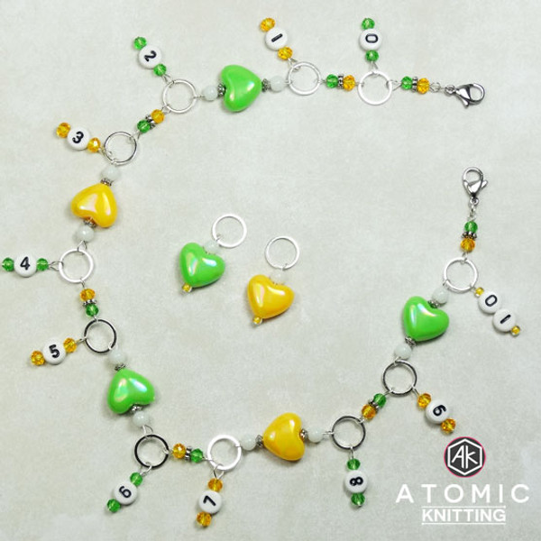Lemon & Lime Hearts Numbered Row Counter & 2 Stitch Markers