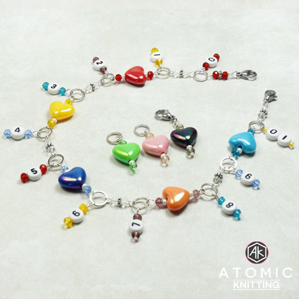 Rainbow Hearts Numbered Row Counter & 3 Stitch Markers