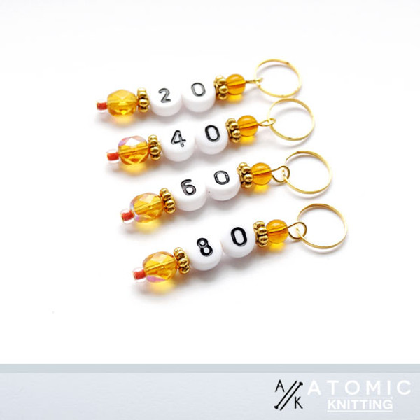 Tangerine Numbered Counting Stitch Markers 20,40,60,80 - set of 4