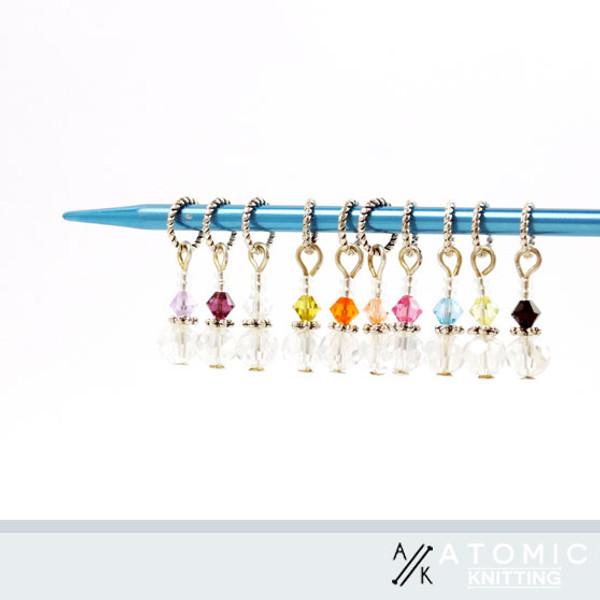 Set of 10 Swarovski bicone & Czech Crystal Stitch Markers