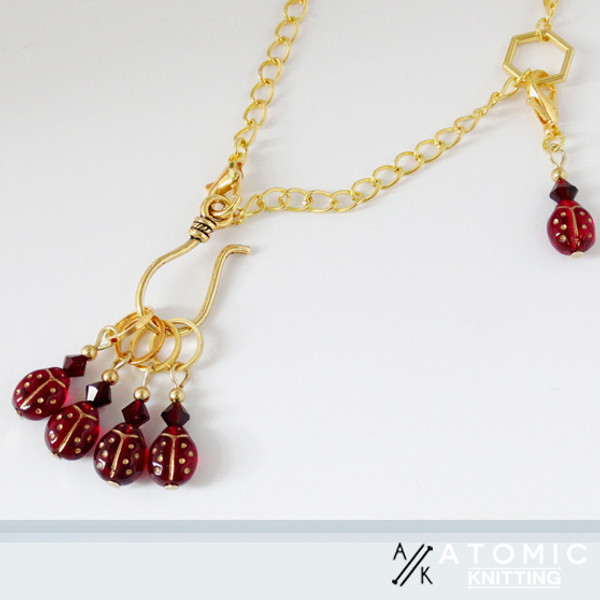 New! Ladybird Golden Stitch Marker Necklace