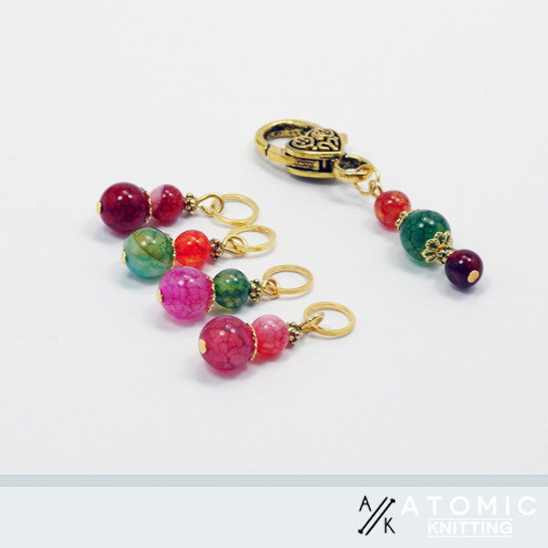 Tourmaline Stitch Markers and Beaded Keeper