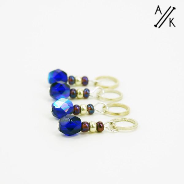 Cobalt-berry Stitch Markers   Atomic Knitting