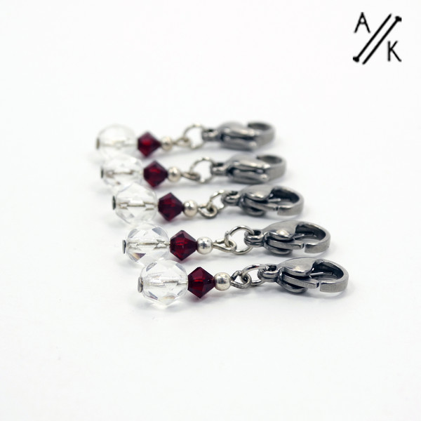 Crystal Garnet Stitch Markers | Atomic Knitting
