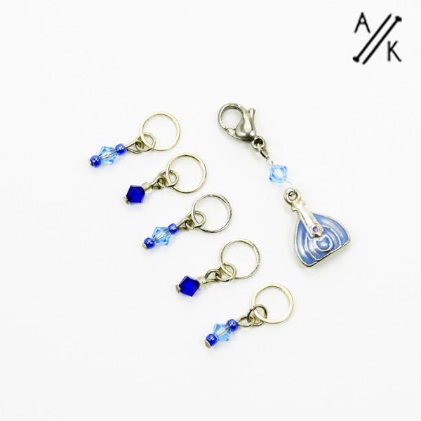 Blue Swarovski Handbag Stitch Markers | Atomic Knitting