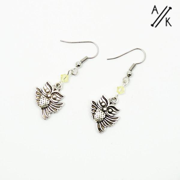 Owl & Swarovski Crystal Earrings | Atomic Knitting