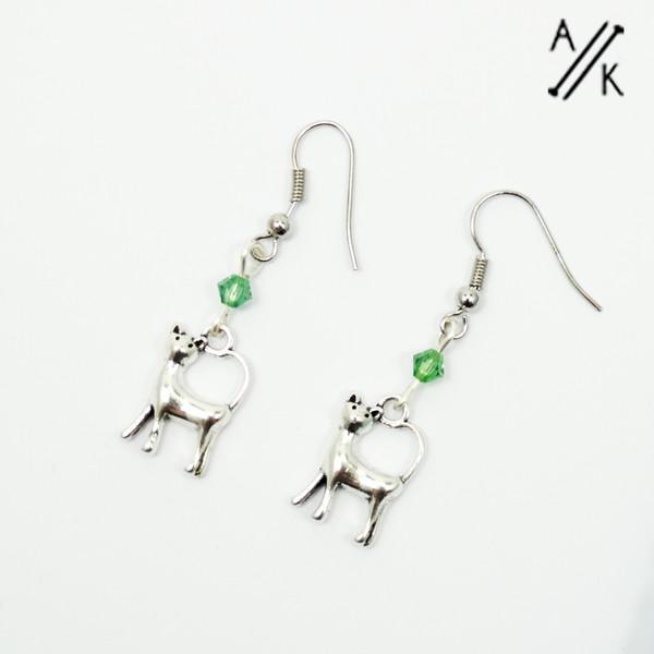 Cat & Swarovski Crystal Earrings   Atomic Knitting