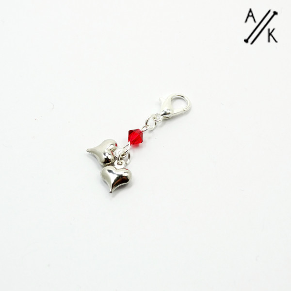 Timelord Hearts Stitch Marker Charm | Atomic Knitting