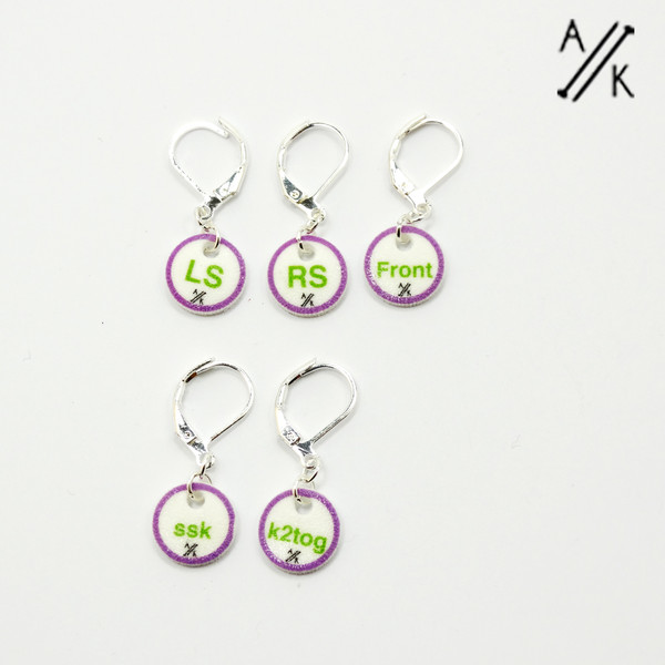 Limited Edition Instructional Stitch Markers | Set of 5 - Lavender Loch
