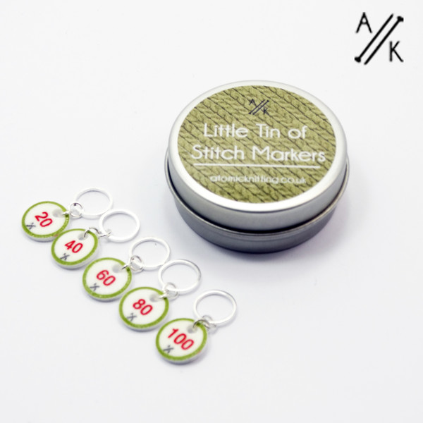 Counting Stitch Markers & Tin (20,40,60,80,100) - Pistachio