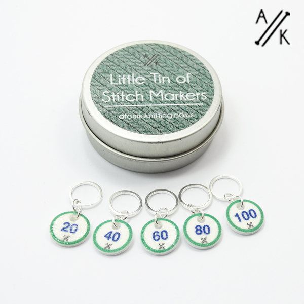 Counting Stitch Markers & Tin (20,40,60,80,100) - Nordic nights
