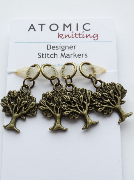 Antique Bronze Tree of Life stitch markers - 4mm Split Ring