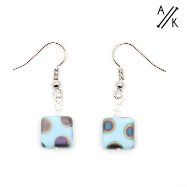 Soft Blue Dotty Matte Square Earrings | Atomic Knitting