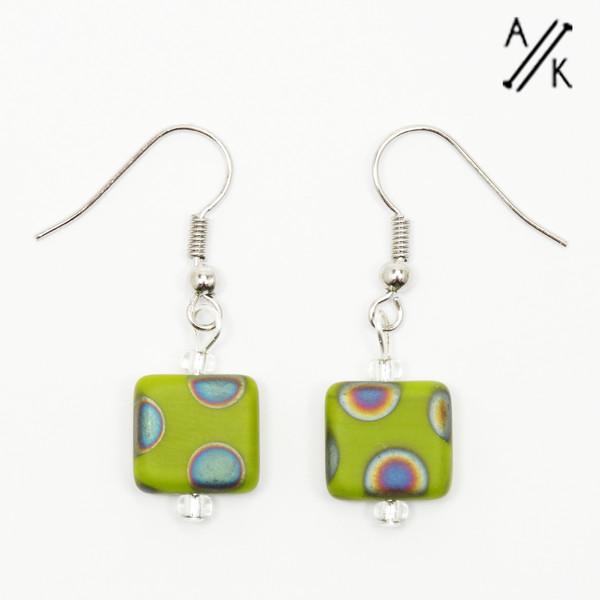 Green Dotty Matte Square Earrings | Atomic Knitting