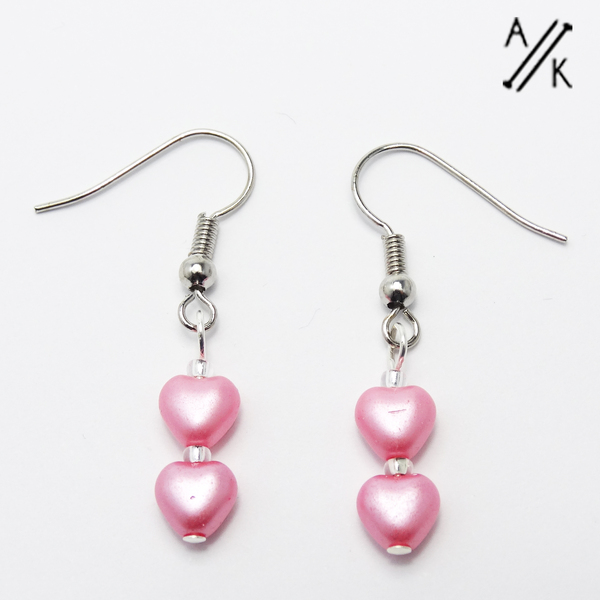 Pink Pearlised Heart Earrings | Atomic Knitting
