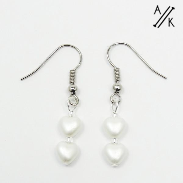 Frost White Pearlised Heart Earrings