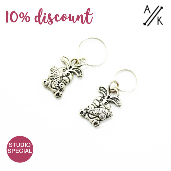New! Set of 2 Bunny Stitch Markers - 4mm & 7mm