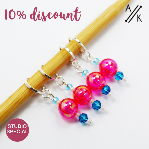 Set of 4 Pink & Teal Stitch Markers 7mm  - Studio Special