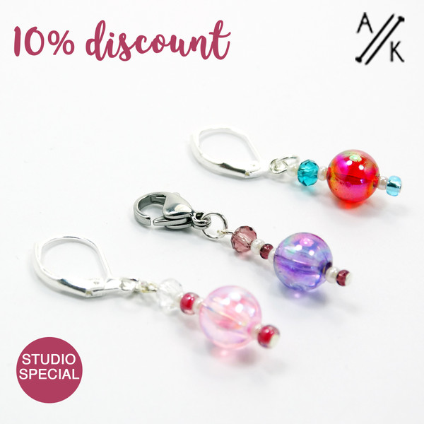 Set of 3 Pink, Purple, Red Stitch Markers Removable - Studio Special