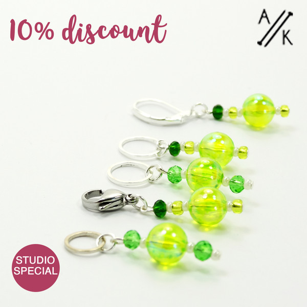 Set of 5 Spring Greens Stitch Markers Mixed Set - Studio Special