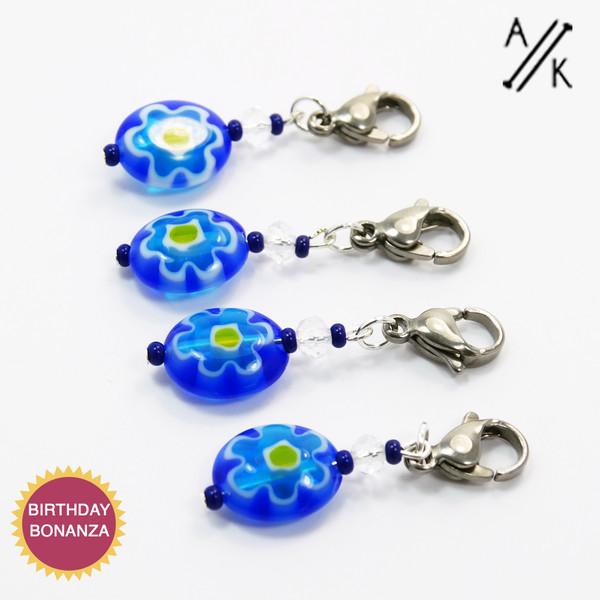 Blue Millefiori Stitch Marker | Atomic Knitting