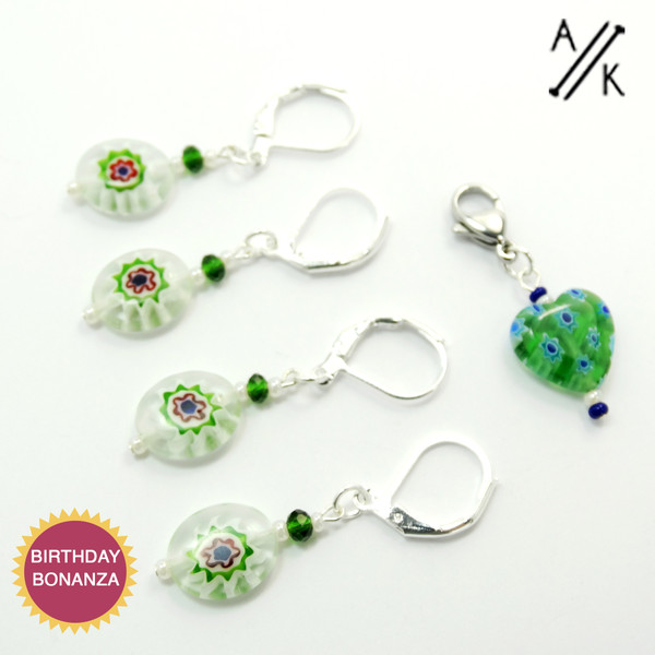 Removable Green Millefiori Stitch Marker | Atomic Knitting