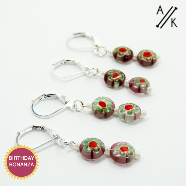 Removable Purple Millefiori Stitch Marker | Atomic Knitting