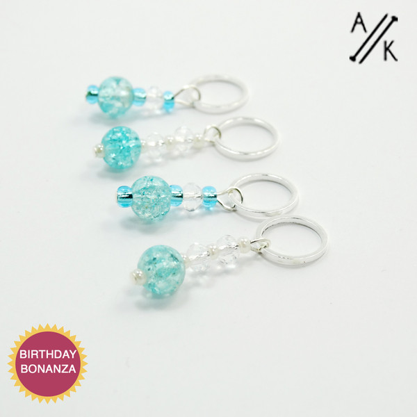 Aqua Crackle Crystal Stitch Markers