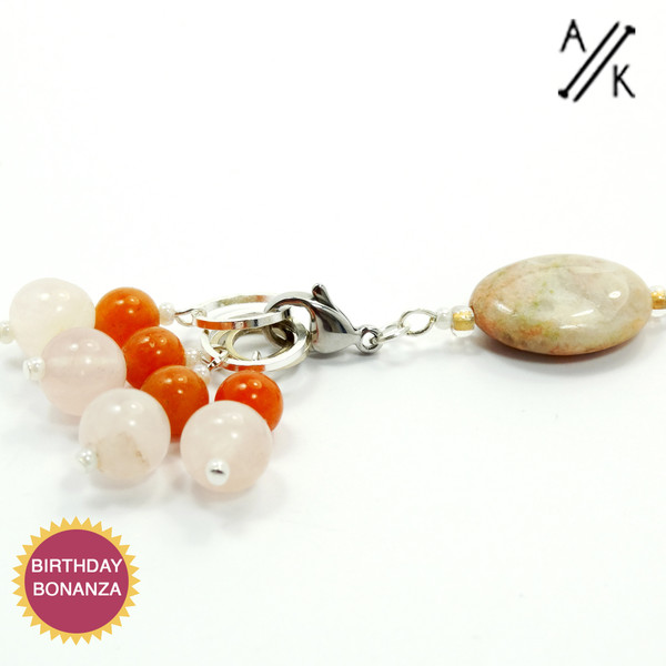 Rose Quartz & Red Aventurine Gemstone Stitch Marker Set