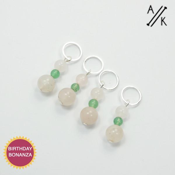 Rose Quartz & Green Aventurine Gemstone Stitch Marker Set
