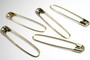 Coil-less French Safety Pins x 5 - Large 2.25inch - Gold
