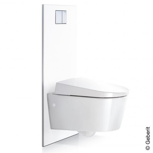 Geberit design plate for AquaClean Sela, Mera and Tuma complete toilet sets to concealed cistern white alpine