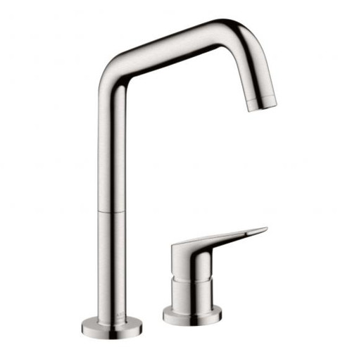 "AXOR Citterio M two hole, single lever kitchen mixer, 1/2"" stainless steel look"