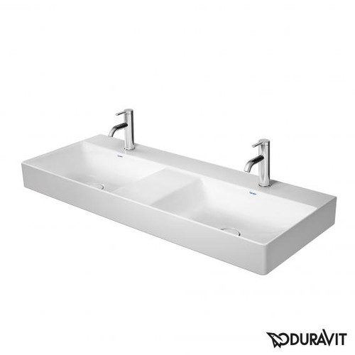 Duravit DuraSquare double vanity washbasin white, with WonderGliss, with 2 tap holes, ungrounded