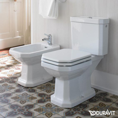 Duravit 1930 close-coupled cistern white, with WonderGliss, with bottom left connection, chrome 08722100051